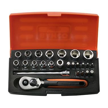"""Bahco SL25 Socket Set 1/4"""" Drive with 25 Pieces"""