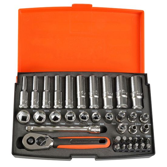"Bahco SL25L Socket Set 1/4"" Deep Drive with 37 Pieces"