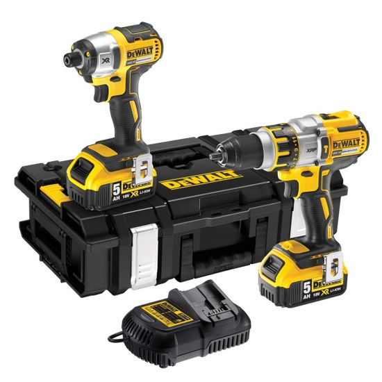 Dewalt DCK255P2 18v XR Li-Ion 3 Speed Combi Drill and Impact Driver Twin Pack 2 x 5.0Ah Batteries