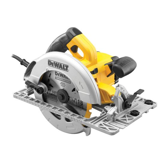 Dewalt DWE576K 190mm 1600w Precision Circular Saw and Track Base with Kit Box 240v